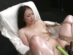 Hot Asian girl bound and fucked with fucking machine