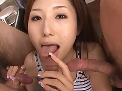 Sexy Oriental mom in heels gets stripped and fucked on bed